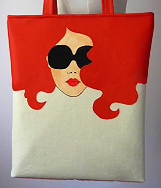 Slikanje na torbi_Žena sa crvenom kosom