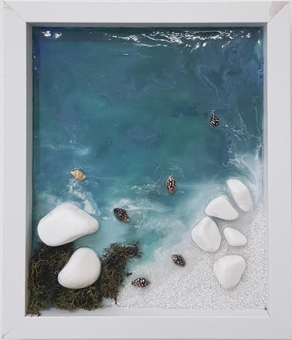 Resin Art - Bela plaža